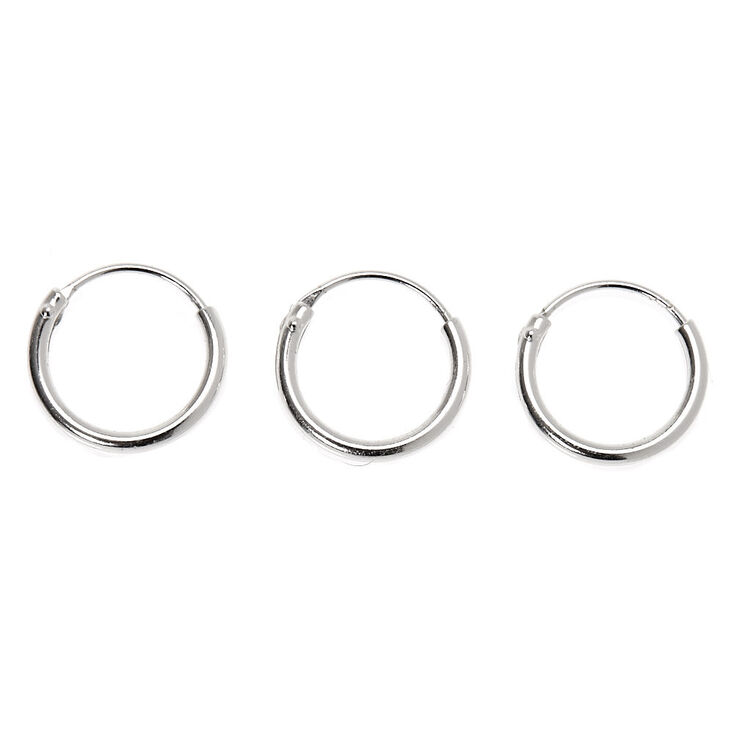 Sterling Silver 22G Cartilage Snap Hoop Earrings - 3 Pack,