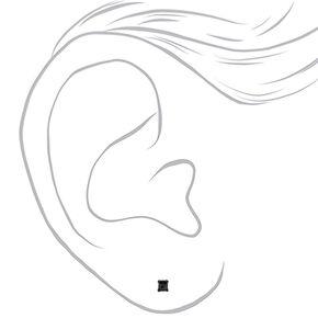 Sterling Silver Cubic Zirconia Square Stud Earrings - Black, 3MM,