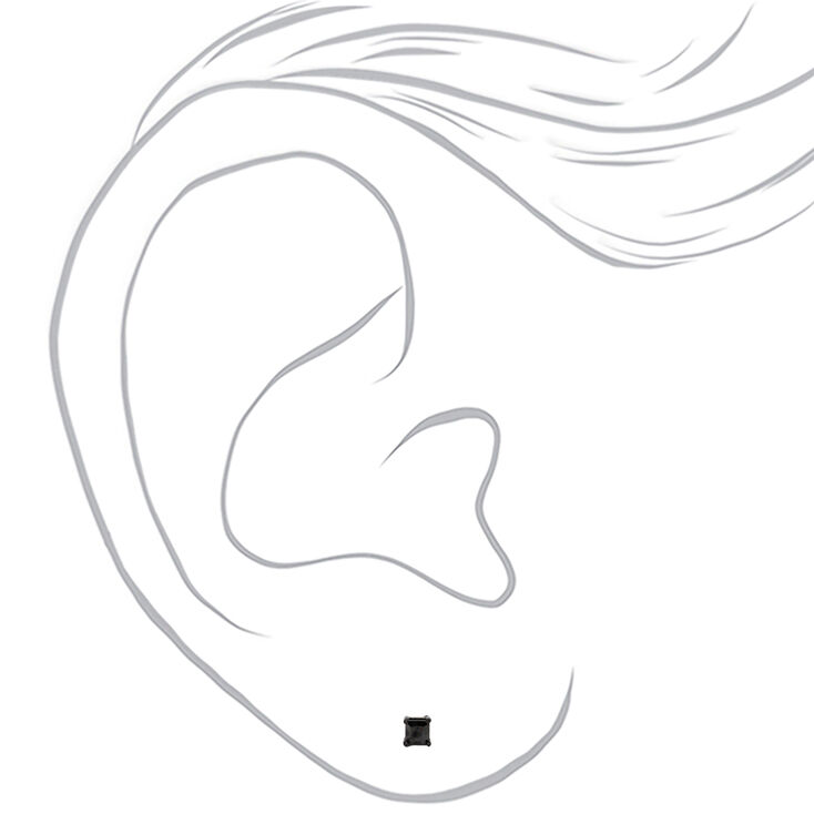 Sterling Silver Cubic Zirconia Square Stud Earrings - Black, 3MM,