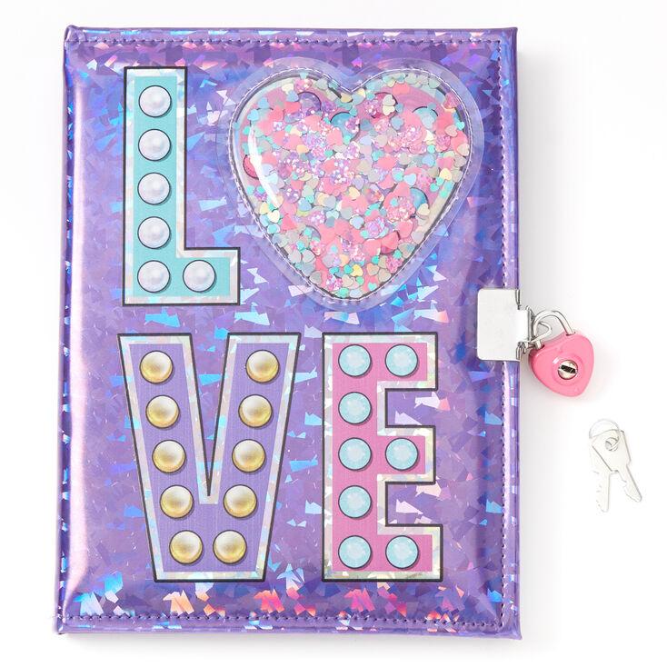 Love Heart Shaker Lock Diary - Purple,
