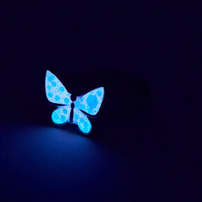 Silver Glow In The Dark Butterfly Ring - Pink,