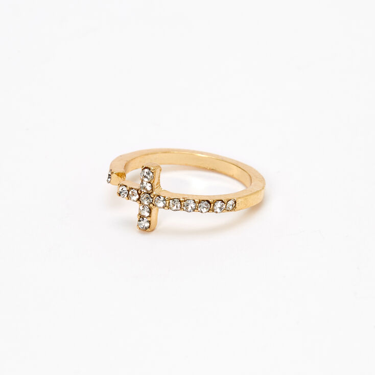 Gold Embellished Side Cross Midi Ring,