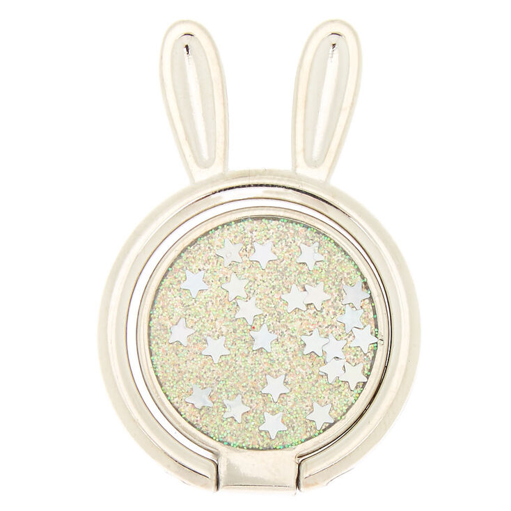 Silver Glitter Bunny Ring Stand,