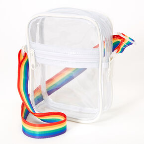 Transparent Rainbow Strap Crossbody Bag - Clear,