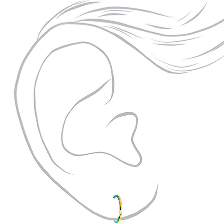 Silver Metallic Rainbow Hoop Earrings - 6 Pack,