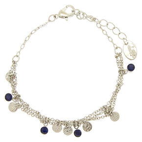 Silver Filigree Stone Chain Bracelet,