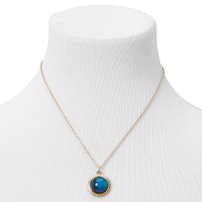 Gold Mood Circle Pendant Necklace,
