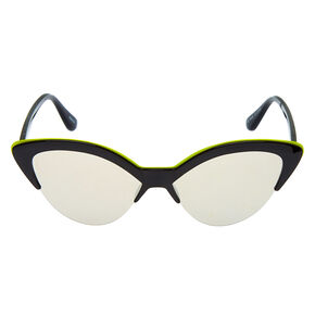 Neon Browline Cat Eye Sunglasses - Black,