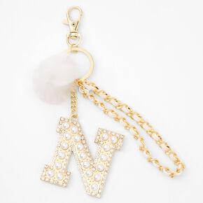 Gold Bling Initial Pom Pom Keyring - White, N,