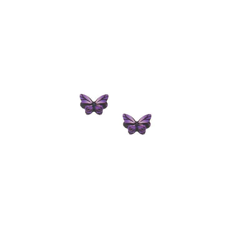 Butterfly Stud Earrings - Purple,
