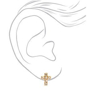 Gold Embellished Cross Stud Earrings,