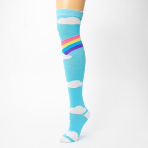 Rainbow and Clouds Over the Knee Socks,