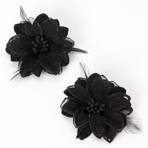 Lily Flower Feather Hair Clips - Black, 2 Pack,