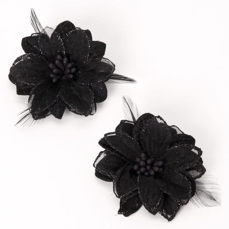 Lot de 2 barrettes à fleurs de lys et plumes noires,