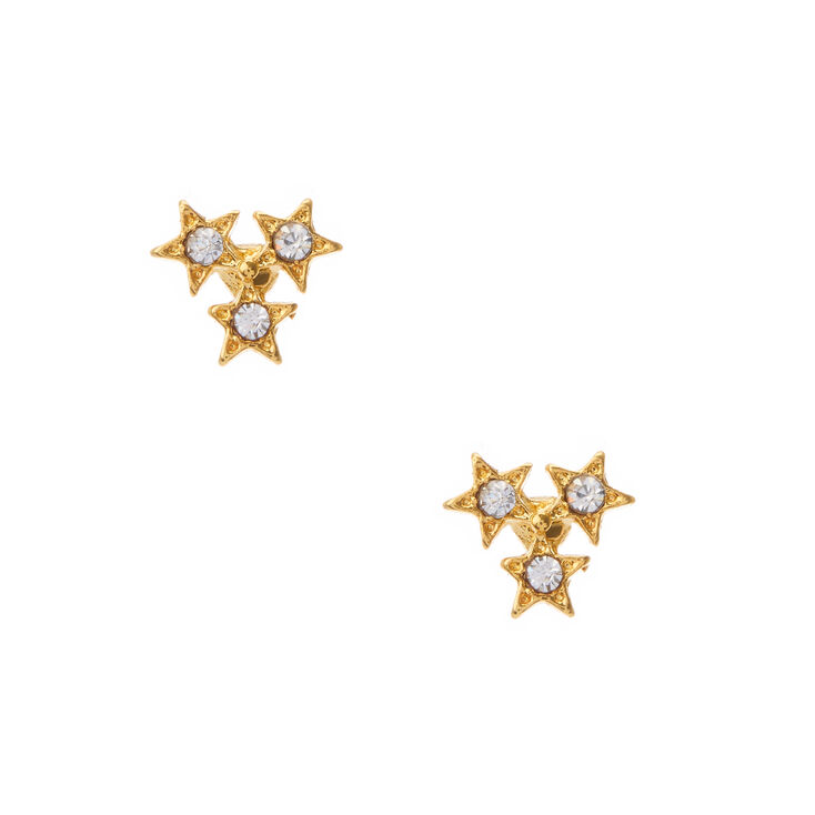 41493cca4 18kt Gold Plated Trio Star Stud Earrings | Claire's