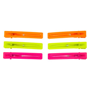 Rectangle Matte Neon Hair Clips - 6 Pack,