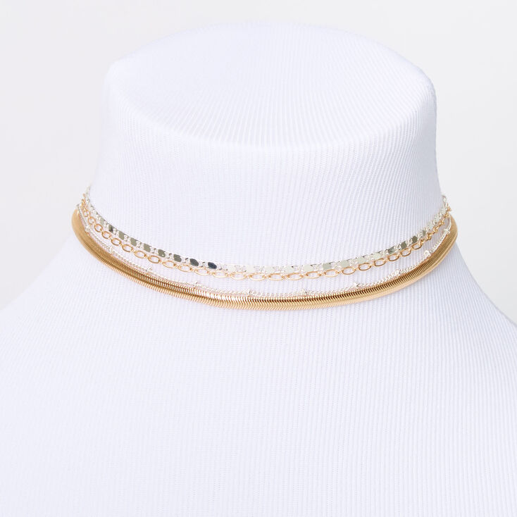 Mixed Metal Sleek Chain Multi Strand Choker Necklace,