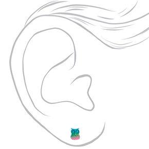 Clous d'oreilles chouette arc-en-ciel pastel couleur argentée,