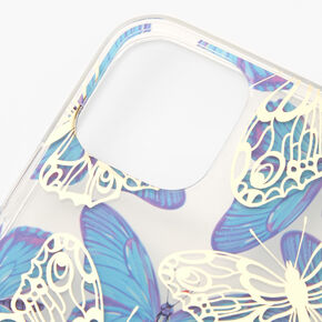 Blue Butterfly Protective Phone Case - Fits iPhone 12/12 Pro,