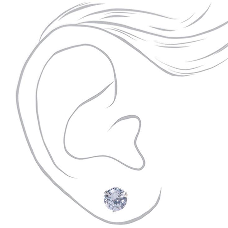 Clous d'oreilles ronds avec strass en zircon cubique d'imitation couleur argentée - 7mm,