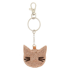 Cat Bling Puff Keychain - Rose Gold,