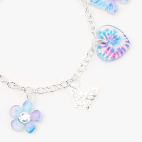 Tie-Dye Butterfly Heart Charm Bracelet,