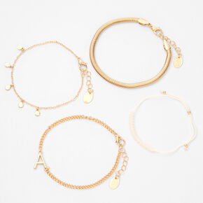 Gold Initial Beaded Chain Bracelets - 4 Pack, A,