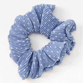 Medium Pleated Polka Dot Hair Scrunchie - Blue,