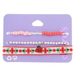 Spring Ladybug Bracelets - Red, 3 Pack,