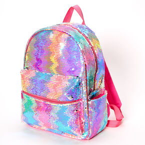 Reversible Sequin Rainbow Zig Zag Medium Backpack,