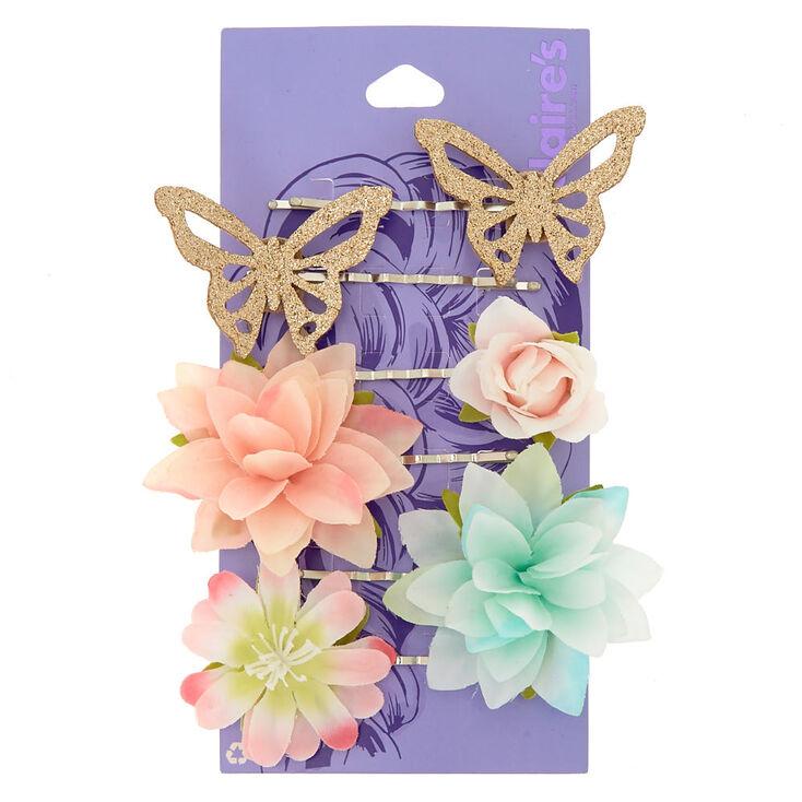Flower & Butterfly Hair Grips - 6 Pack,