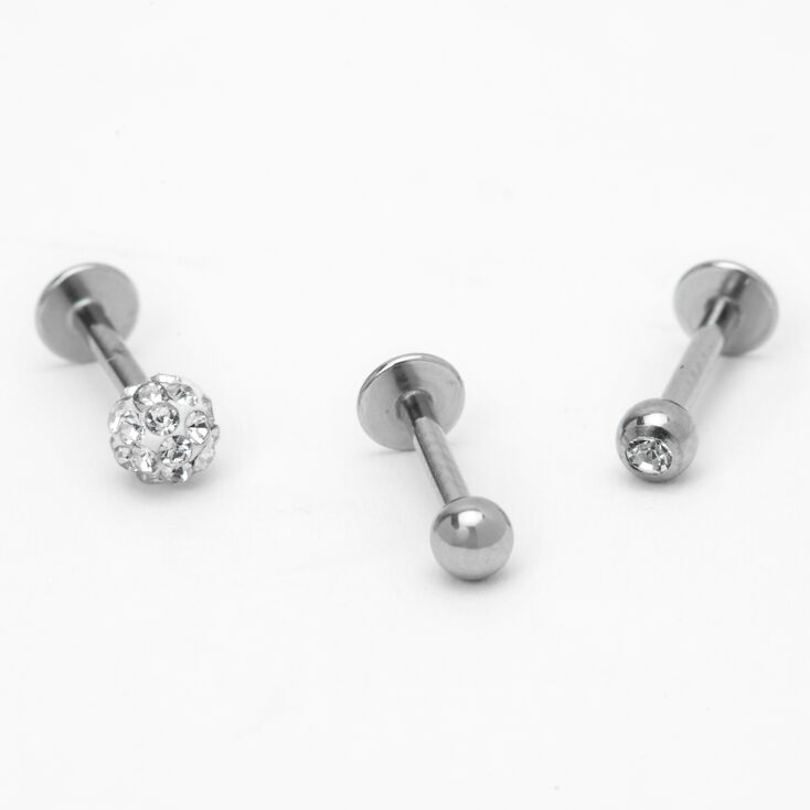 Silver 16G Crystal Fireball Helix Stud Earrings - 3 Pack,