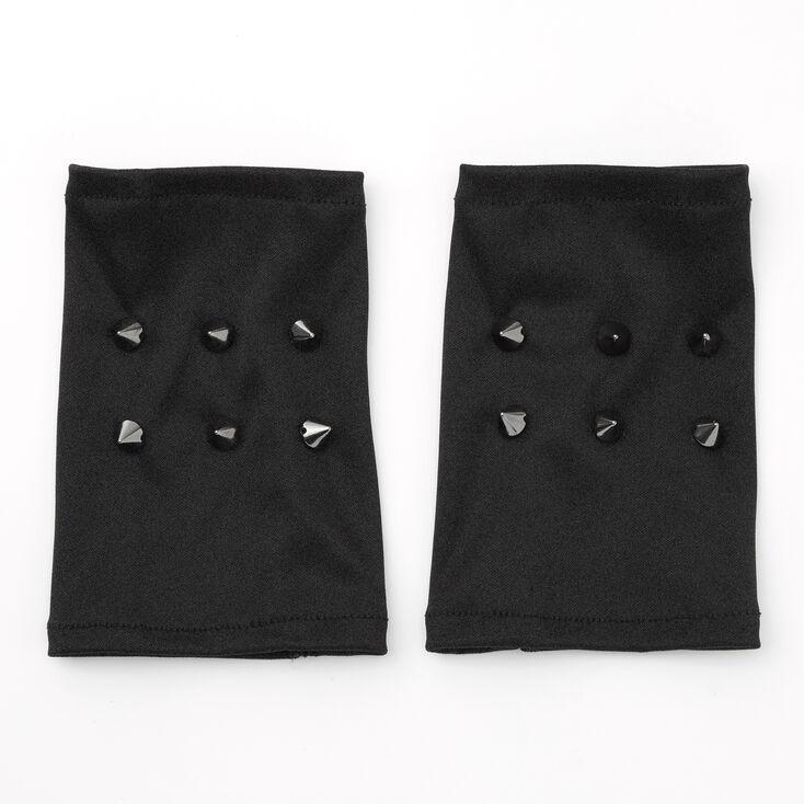 Studded Fingerless Gloves - Black,