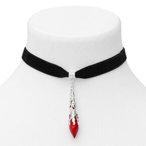 Blood Drop Choker Necklace - Black,