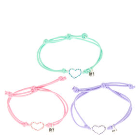 Pastel Heart Stretch Friendship Bracelets - 3 Pack,