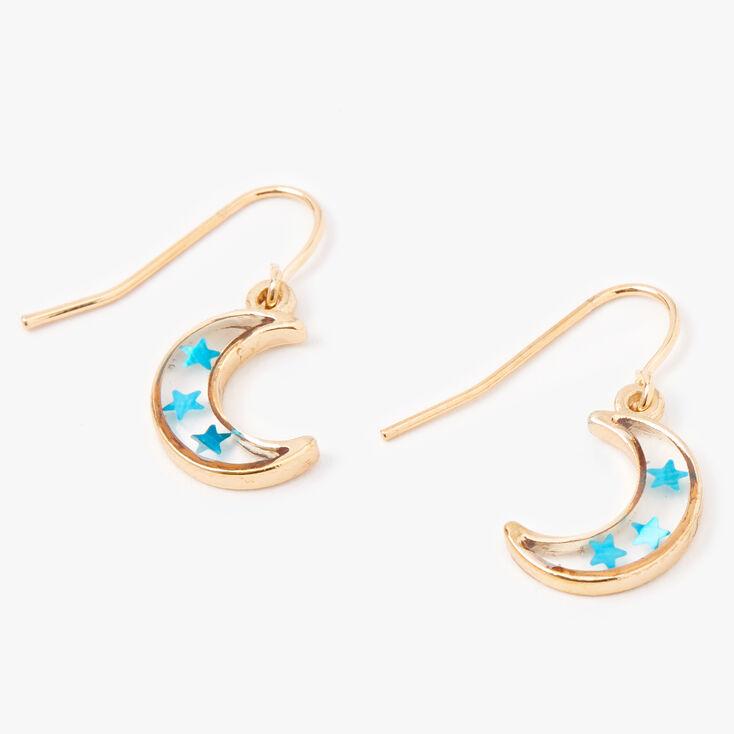 """Gold 0.5"""" Confetti Star Moon Drop Earrings,"""