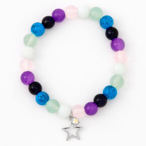 Silver Star Multicolor Beaded Stretch Bracelet,