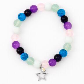 Bracelet élastique perlé multicolore étoile couleur argentée,