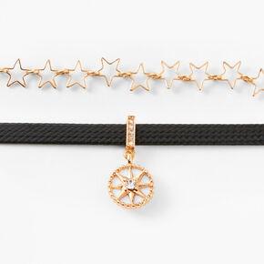 Ras-de-cou tressé et chaîne étoile couleur dorée - Noir,