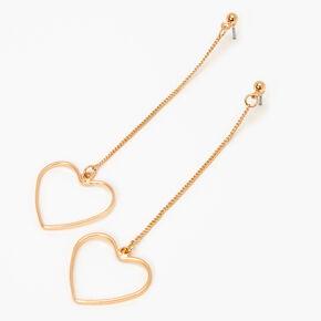 """Gold 3"""" Open Heart Linear Drop Earrings,"""