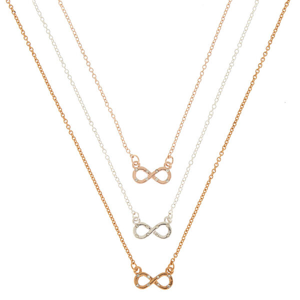 Claire's - mixed metal infinity pendant necklaces - 1