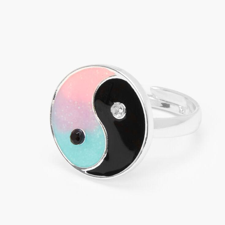 Silver Glow In The Dark Yin-Yang Ring,