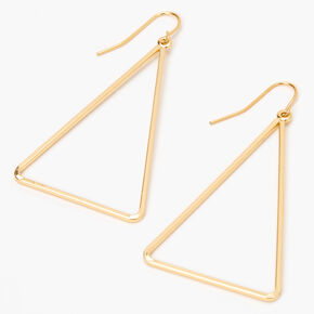 Gold Triangle Outline Drop Earrings,
