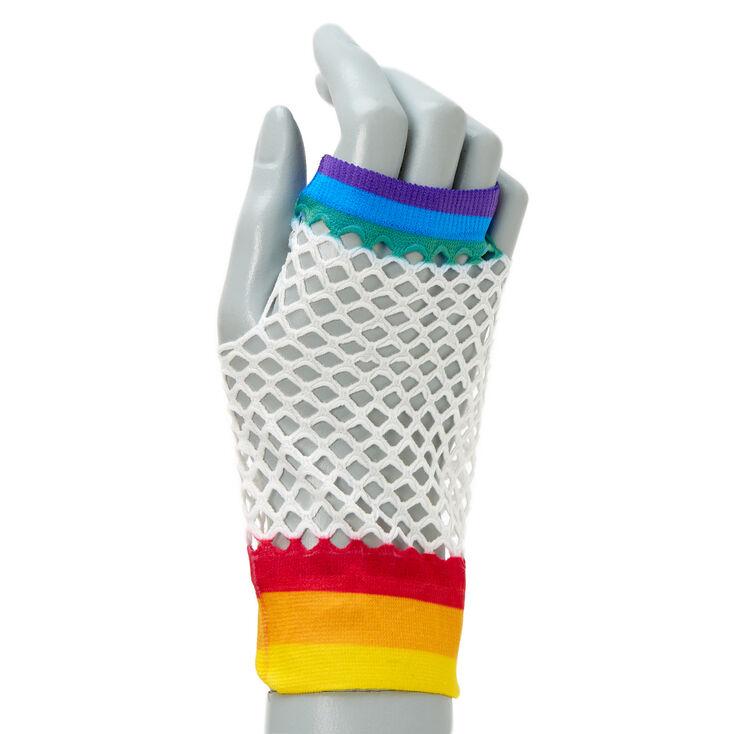 Rainbow Fishnet Arm Warmers - White,