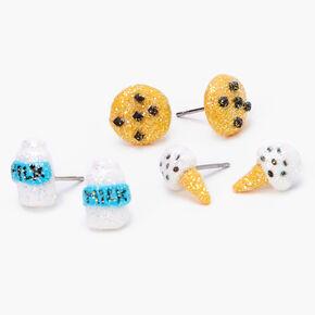 Glitter Milk & Cookies Stud Earrings - Brown, 3 Pack,