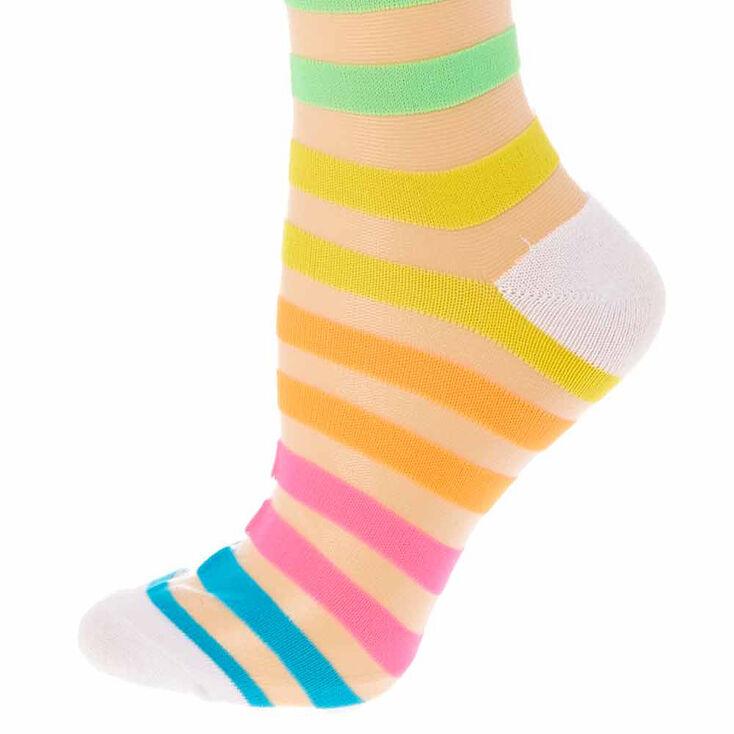 Neon Rainbow Striped Sheer Knee High Socks,