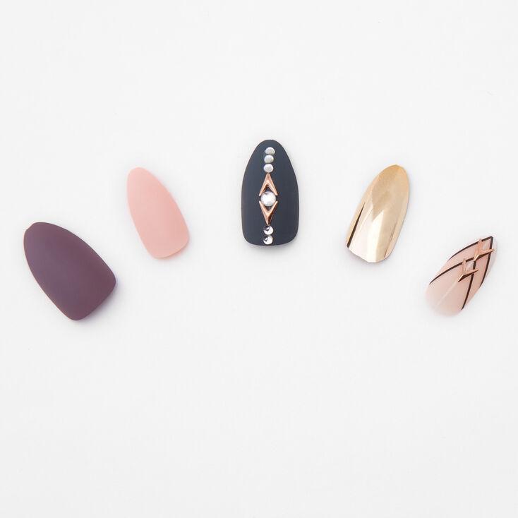 Tribal Jewels Stiletto Faux Nail Set - 24 Pack,