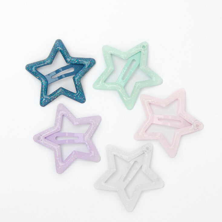 Claire's Club Glitter Celestial Snap Hair Clips - 5 Pack,