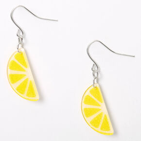 "Silver 1"" Lemon Slice Drop Earrings - Yellow,"