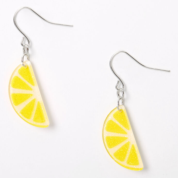 Yellow and silver drop earrings